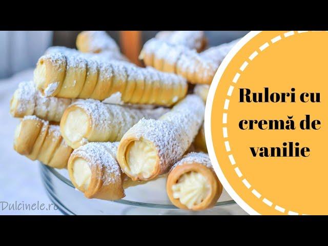 Rulouri cu cremă de vanilie – rețetă VIDEO