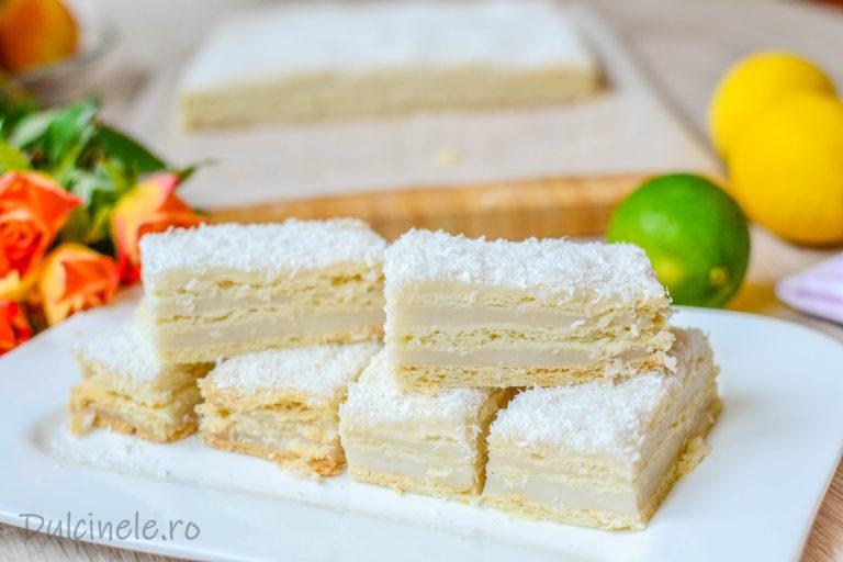 Prăjitură cu foi fragede de post (cu cremă de cocos și lămâie) – rețetă VIDEO