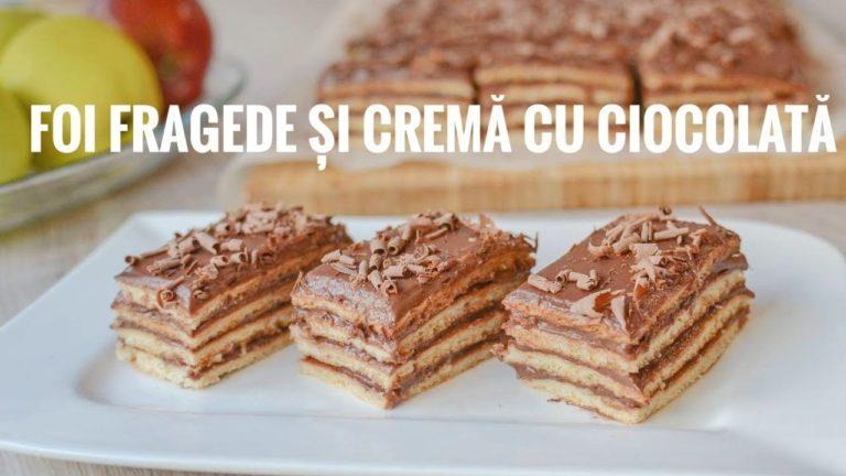 Prăjitură cu foi fragede și cremă cu ciocolată – rețetă VIDEO