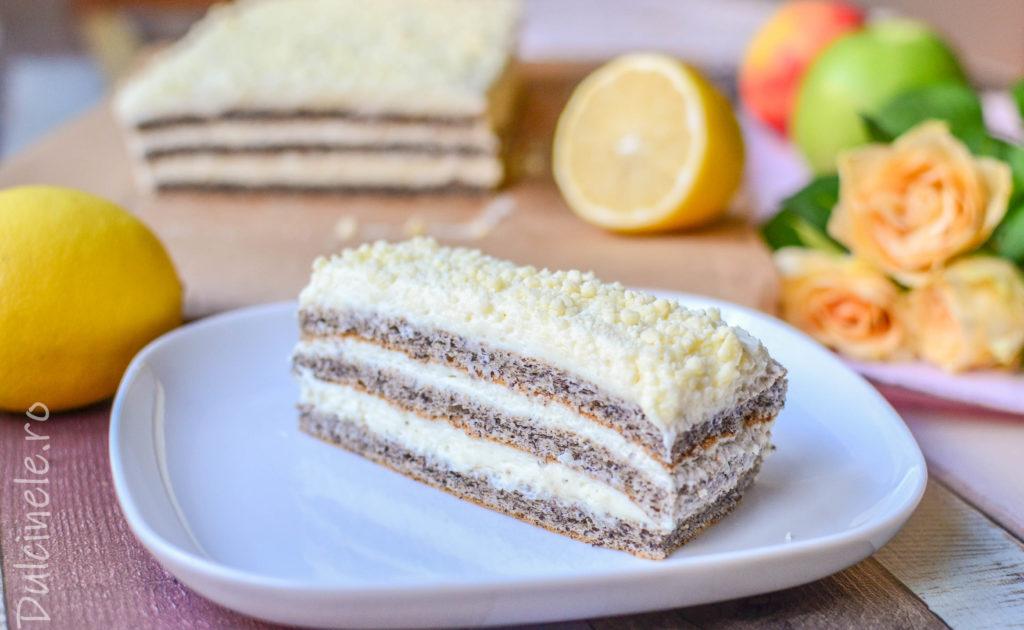 Prăjitură Regina Esther (cu mac și cremă de lămâie) || Dulcinele.ro