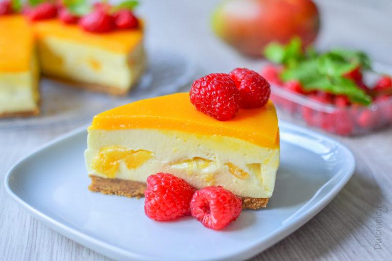 Cheesecake fără coacere cu mango – rețeta VIDEO
